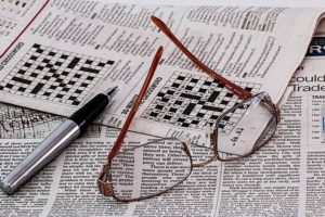 Newspaper with crossword